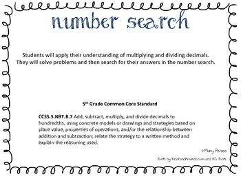Multiplying & Dividing decimals Number Search