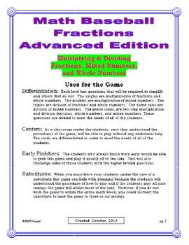 Multiplying & Dividing of Fractions Baseball Game