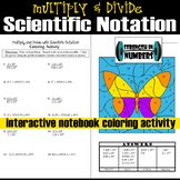 Multiplying Dividing w/ Scientific Notation Butterfly Coloring Activity