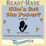 Multiplying Exponential Expressions Mystery Activity (Positive Exponents)