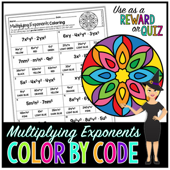 MULTIPLYING EXPONENTS MATH COLOR BY NUMBER, QUIZ