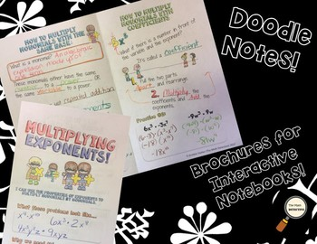 Multiplying Exponents - Doodle Note Brochure for Interactive Notebooks