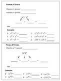 Multiplying Exponents Graphic Organizer / Foldable (produc