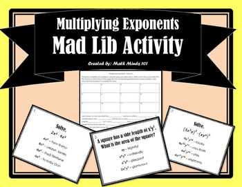 Multiplying Exponents Mad Lib