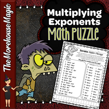 Multiplying Exponents Math Puzzle - Zombies!