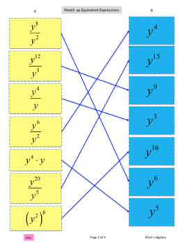 Exponents: Multiplying Powers (Explore, Cut, and Match)