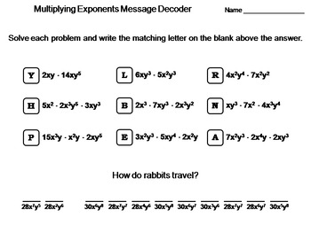 Multiplying Exponents Worksheet: Math Message Decoder