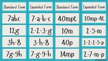Multiplying Expressions in Standard and Expanded Form