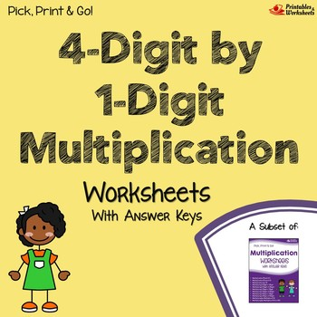 Four Digit By One Digit Multiplication Worksheets With Answer Keys