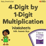 4 x 1 Multiplication, 1 Digit By 4 Digits Practice Worksheets