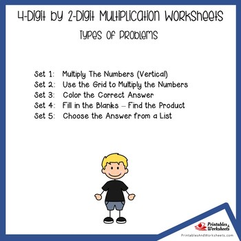 Four Digit By Two Digit Multiplication Worksheets With Answer Keys