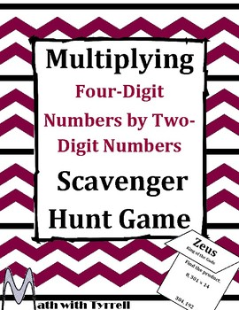 Multiplying Four-Digit Numbers by Two-Digit Numbers Scavenger Hunt Game
