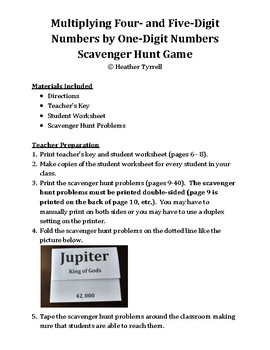 Multiplying Four- & Five-Digit Numbers by One-Digit Numbers Scavenger Hunt Game
