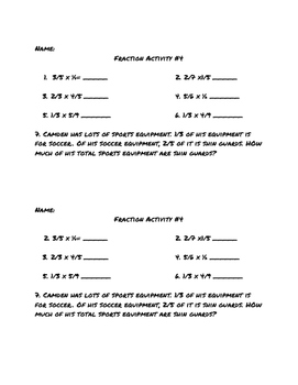 Multiplying Fraction Activities, Review, AND quiz