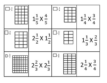 Multiplying Fraction Models Matching