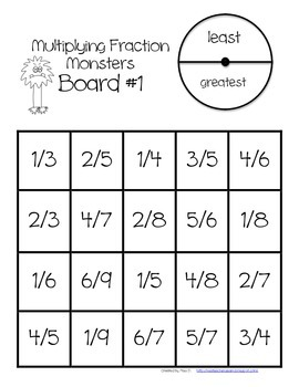 Multiplying Fractions by Whole Numbers Game {4.NF.4}