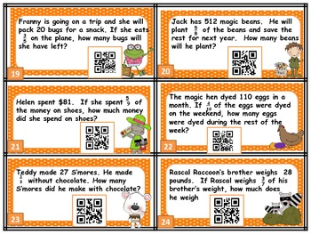 Multiplying Fraction & Whole Number Multi-Step Word Problem: QR codes included