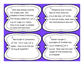Multiplying Fraction and Whole Number Differentiated Word Problem Task Cards