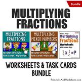 Multiplying Fractions Task Cards and Worksheets Bundle