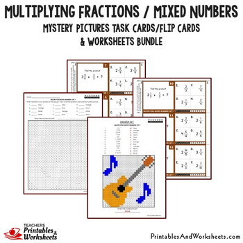 Multiplying Fractions & Mixed Numbers Worksheets, Color Fraction Multiplication