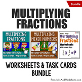 Multiplying Fractions Task Cards and Worksheets Bundle