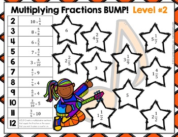 Multiplying Fractions & Multiplying Mixed Numbers Bump Games {4.NF.4, 5.NF.4}