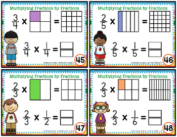 Multiplying Fractions by Fractions Task Cards