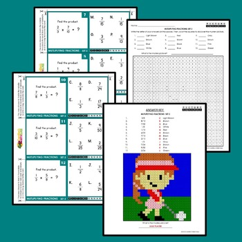 Fraction Multiplication Task Cards With Multiply Fractions Coloring Sheets