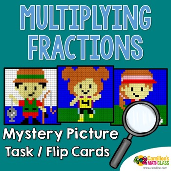 Multiplying Fractions Task Cards Mystery Pictures Activity