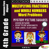 Multiplying Whole Numbers By Fractions Word Problems Mystery Pictures
