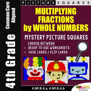 Multiplying Fractions Task Cards and Worksheets, Mystery Pictures Activity