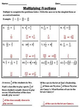 Multiplying Fractions
