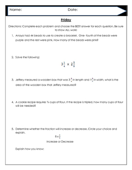 Multiplying Fractions 5.NF.4, 5 NF.5  and 5.NF.6 END OF YEAR REVIEW