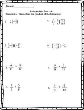 Multiplying Fractions  – 7th Grade Rational Numbers