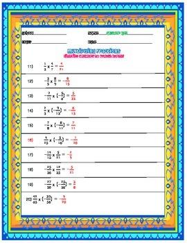 Multiplying Fractions Applying Integer Rules