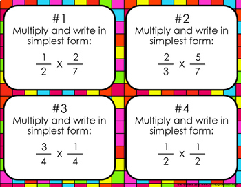 Multiplying Fractions Bingo