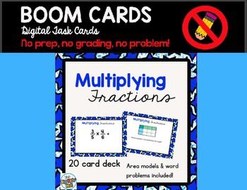 Multiplying Fractions Boom Cards Digital Task Cards 5.NF.B