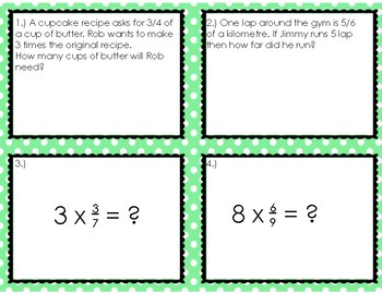 Multiplying Fractions Bundle Task Cards