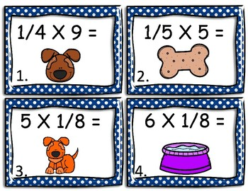 Multiplying Fractions By a Whole Number- Puppy Theme