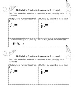 Multiplying Fractions Cloze Notes