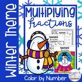 Multiplying Fractions Color by Number-Winter Theme