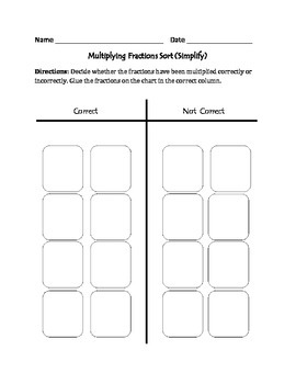 Multiplying Fractions : Cut, Sort, and Paste Activity