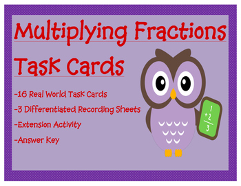 Multiplying Fractions Differentiated Task Cards