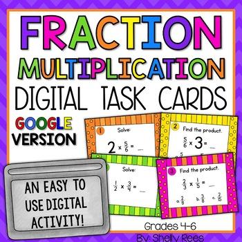 Multiplying Fractions Digital Task Cards Google Version