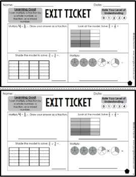 Multiplying Fractions Exit Tickets - Differentiated Math Assessment Quick Check