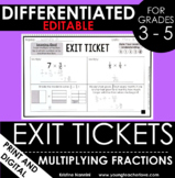 Multiplying Fractions Exit Tickets - Differentiated Math A