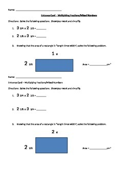 Multiplying Fractions - Formative Assessment