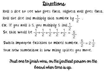 Multiplying Fractions Game