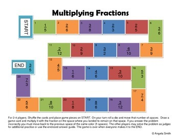 Multiplying Fractions Game Board - 5th Grade CCSS Math
