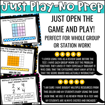 Multiplying Fractions Game Show 5th Grade | PowerPoint Review Game | Test Prep
